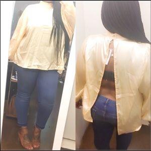 Sexy Open Back Satin Dress Top